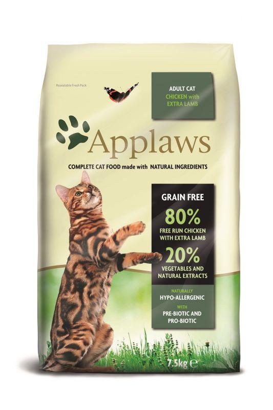 """Applaws Беззерновой сухой корм для Взрослых кошек """"Ягненок, Курица и овощи"""""""