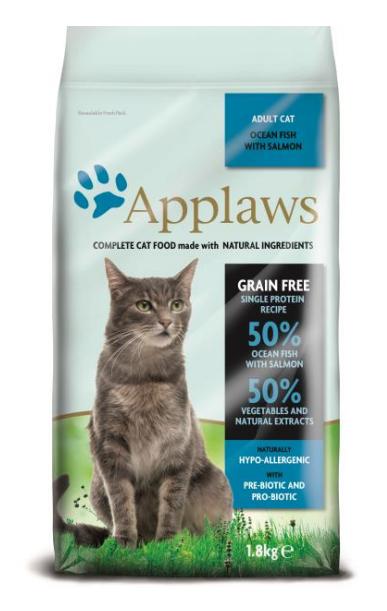 """Applaws Беззерновой сухой корм для Взрослых кошек """"Океаническая рыба и Лосось"""""""