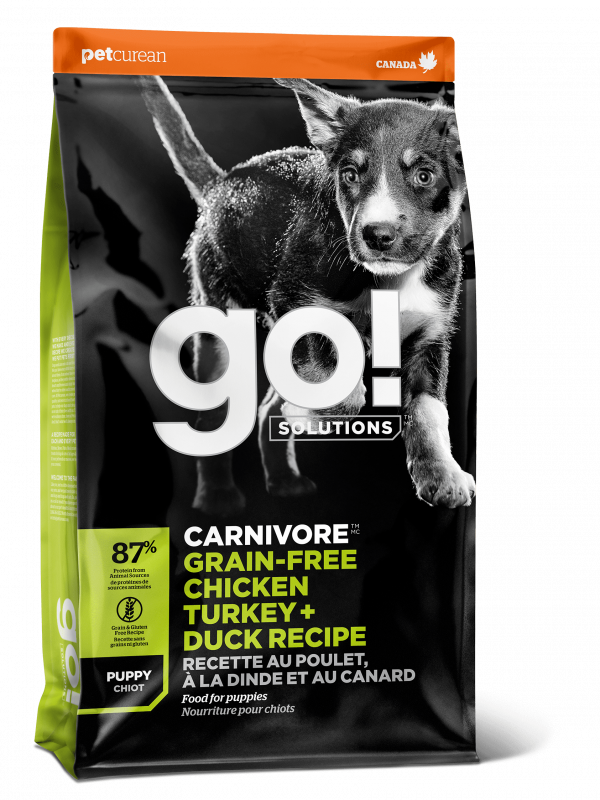 GO! Solitions Беззерновой для Щенков всех пород 4 вида мяса: Индейка, Курица, Лосось, Утка (GO! CARNIVORE GF Chicken,Turkey + Duck Puppy Recipe DF 36/18)