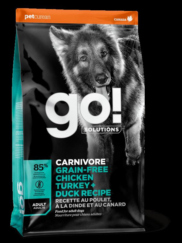 GO! Solitions Беззерновой для Взрослых Собак всех пород 4 вида мяса: Индейка, Курица, Лосось, Утка (CARNIVORE GF Chicken,Turkey + Duck Adult Recipe DF 34/16)