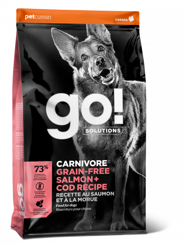 GO! Solitions Беззерновой для Собак всех возрастов c Лососем и Треской (GO! CARNIVORE GF Salmon + Cod Recipe DF 34/16)