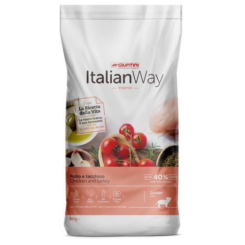 Italian Way Беззерновой корм для Щенков со свежей Курицей и Индейкой (Italian Way Junior Starter Chicken/Turkey)