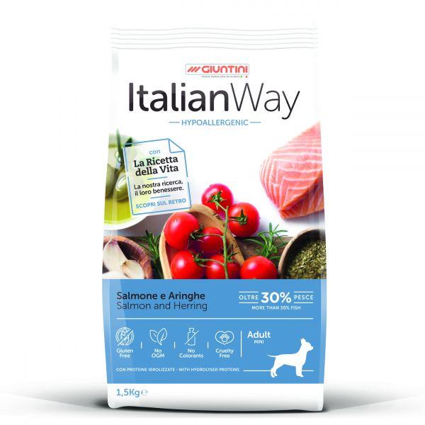 Italian Way Безглютеновый корм для собак Малых пород с чувствительной кожей, Лосось и Сельдь (Italian Way Mini Hypo Salmon/Herring)