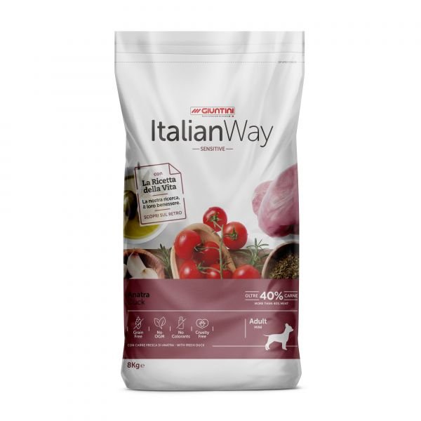Italian Way Беззерновой корм для собак Малых пород с Чувствительным пищеварением со свежей Уткой (Italian Way Mini Sensitive Duck)