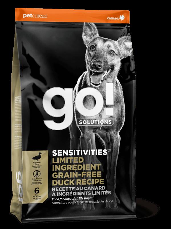 GO! Solutions Беззерновой для Щенков и Собак со свежей Уткой для чувстительного пищеварения (GO! SENSITIVITIESLimited Ingredient Grain FreeDuck Recipe DF 24/12)