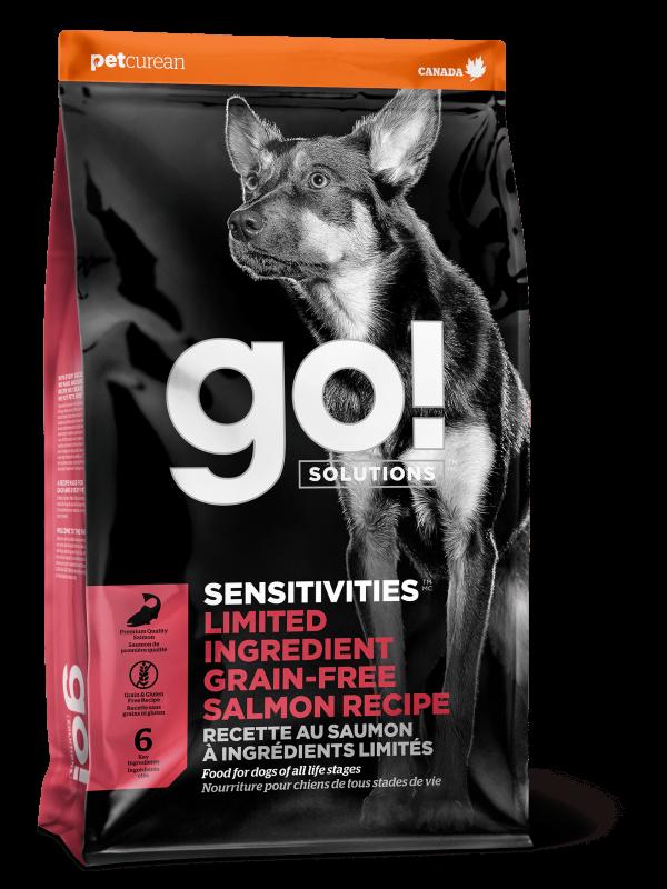 GO! Solutions Беззерновой для Щенков и собак с Лососем для чувстительного пищеварения (GO! SENSITIVITIES Limited Ingredient Grain FreeSalmon Recipe DF 24/12)