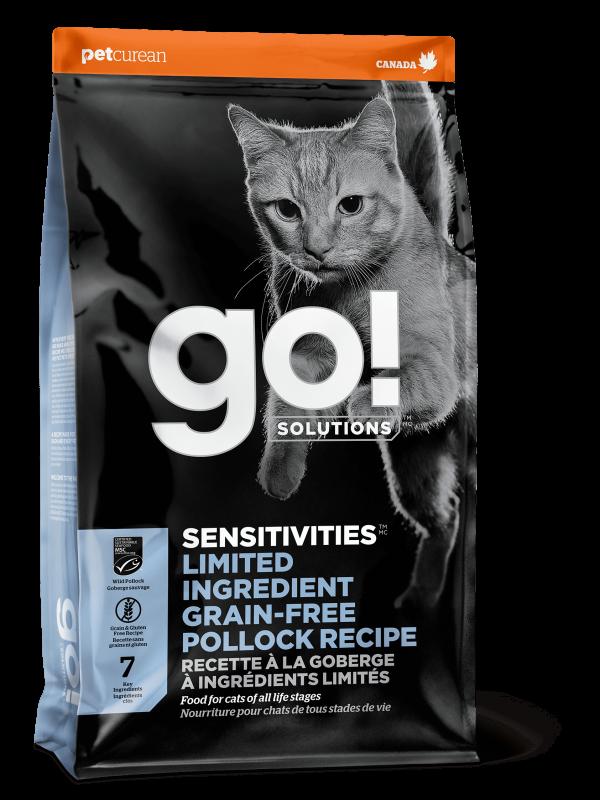 Go! Solutions Беззерновой для котят и кошек с чувствительным пищеварением с минтаем (GO! SENSITIVITIES Limited Ingredient Grain FreePollock Recipe CF 30/15)