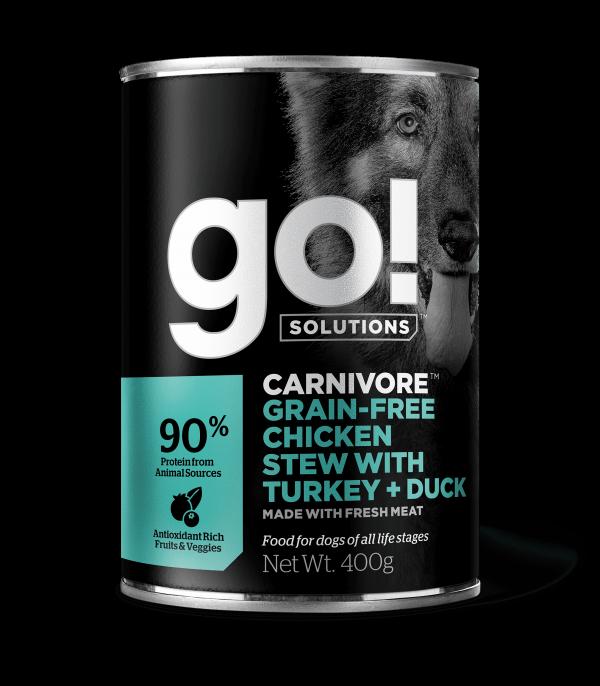 GO! Solutions Консервы беззерновые с тушеной Курицей, Индейкой и мясом Утки для собак всех возрастов (GO! Carnivore GF Chicken Stew with Turkey + Duck DF)