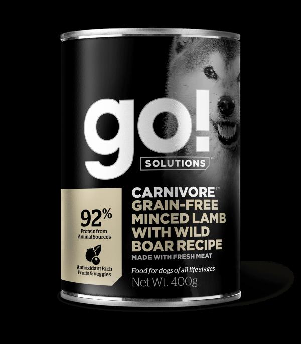 GO! Solutions Консервы беззерновые с мясом Ягненка и дикого Кабана для собак всех возрастов (GO! Carnivore GF Minced Lamb with Wild Boar DF)