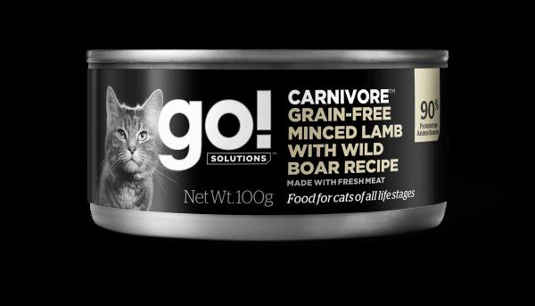 Go! Solutions Консервы беззерновые с мясом Ягненка и дикого Кабана для кошек всех возрастов (GO! Carnivore GF Minced Lamb with Wild Boar CF)
