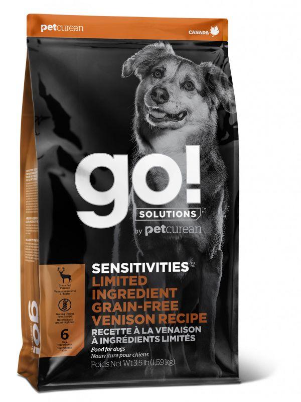 Go! Solutions Беззерновой для щенков и собак со свежей Олениной для чувствительного пищеварения (GO! SENSITIVITIES Limited Ingredient Grain-Free Venison recipe for dogs 22/12)