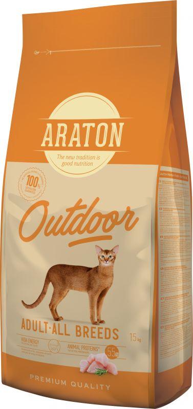 Araton Outdoor Adult All Breeds Сухой корм для Активных кошек с Курицей и Индейкой
