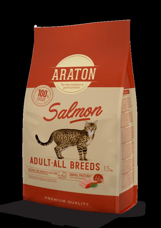 Araton Adult All Breeds Salmon Сухой корм для взрослых кошек Всех пород с Лососем