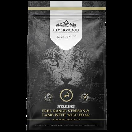 Riverwood сухой корм для Стерилизованных кошек Олень, Ягненок и Дикий кабан (Riverwood Sterilised Free Range Venison, Lamb with Wild Boar)