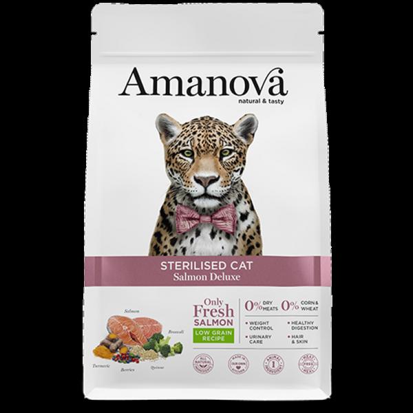 """Amanova Sterilized Salmon Deluxe сухой корм для стерилизованных кошек с Лососем """"делюкс"""""""